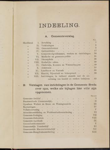 Breda - Verslagen van de toestand van de gemeente 1922-01-01
