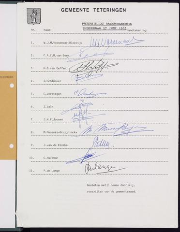 Teteringen - Notulen en bijlagen van de gemeenteraad 1985-06-27