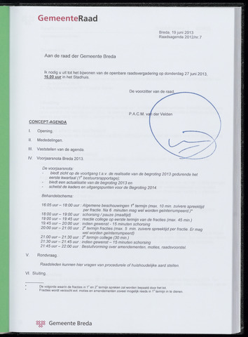 Breda - Bijlagen bij de notulen van de gemeenteraad 2013-06-27