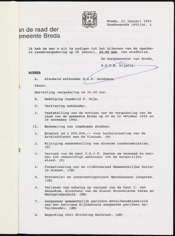 Breda - Bijlagen bij de notulen van de gemeenteraad 1993