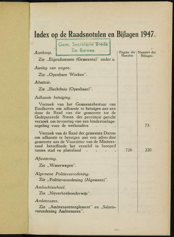 Breda - Indexen op de notulen van de gemeenteraad 1947-01-01