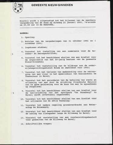 Nieuw-Ginneken - Notulen en bijlagen van de gemeenteraad 1992
