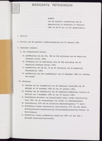 Teteringen - Notulen en bijlagen van de gemeenteraad 1981-02-19