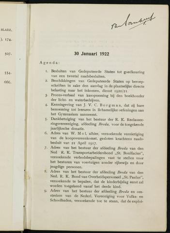Breda - Notulen van de gemeenteraad 1922-01-01