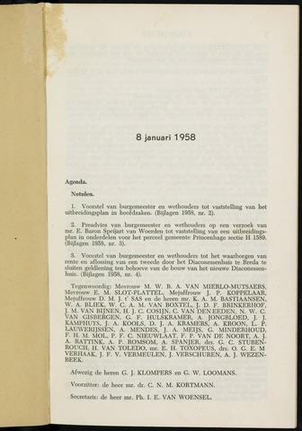 Breda - Notulen van de gemeenteraad 1958-01-01