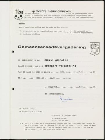 Nieuw-Ginneken - Notulen en bijlagen van de gemeenteraad 1985