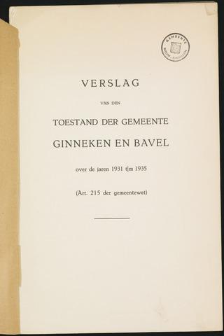 Ginneken en Bavel - Verslagen van de toestand van de gemeente 1931