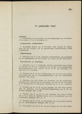Breda - Notulen van de gemeenteraad 1947