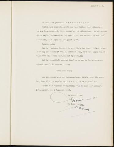 Prinsenbeek - Bijlagen bij de notulen van de gemeenteraad 1952-01-01