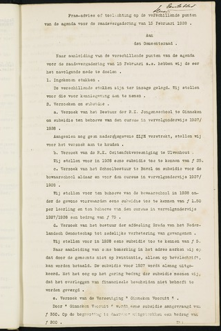Ginneken en Bavel - Bijlagen bij de notulen van de gemeenteraad 1928-01-01