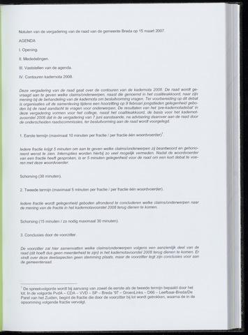 Breda - Notulen van de gemeenteraad 2007-03-15