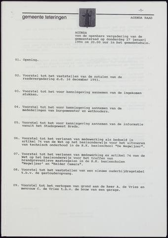 Teteringen - Notulen en bijlagen van de gemeenteraad 1994