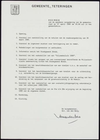 Teteringen - Notulen en bijlagen van de gemeenteraad 1989-04-27