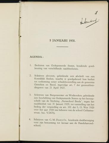 Breda - Notulen van de gemeenteraad 1931-01-01