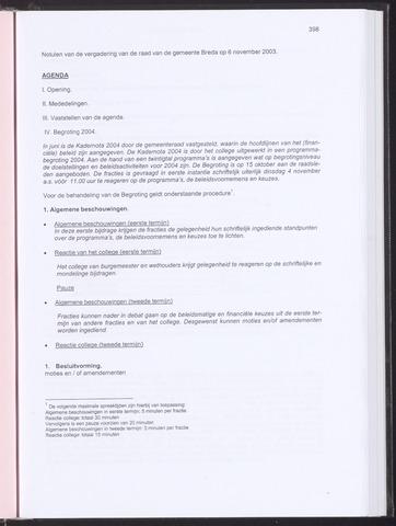 Breda - Notulen van de gemeenteraad 2003-11-06