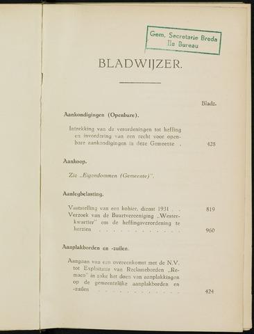 Breda - Indexen op de notulen van de gemeenteraad 1931