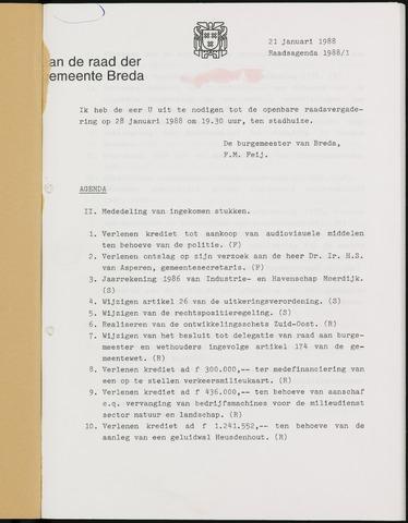 Breda - Bijlagen bij de notulen van de gemeenteraad 1988