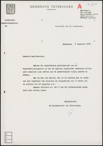 Teteringen - Notulen en bijlagen van de gemeenteraad 1976-08-24