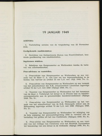 Breda - Notulen van de gemeenteraad 1949-01-01