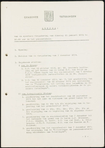 Teteringen - Notulen en bijlagen van de gemeenteraad 1972-01-11