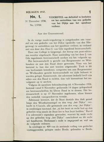 Breda - Bijlagen bij de notulen van de gemeenteraad 1937