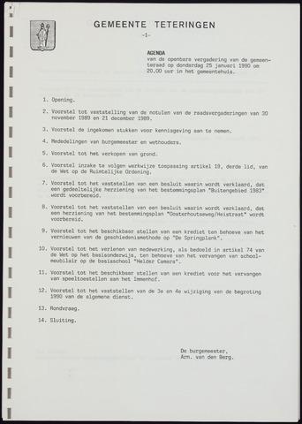 Teteringen - Notulen en bijlagen van de gemeenteraad 1990-01-25