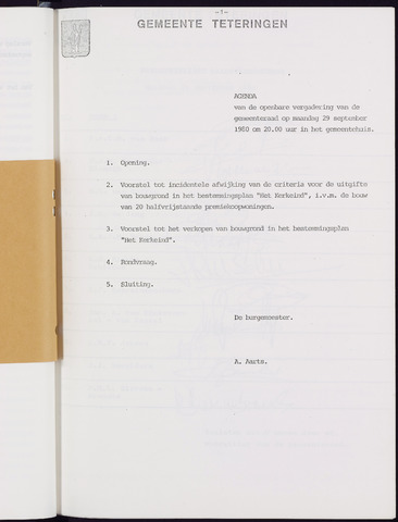 Teteringen - Notulen en bijlagen van de gemeenteraad 1980-09-29
