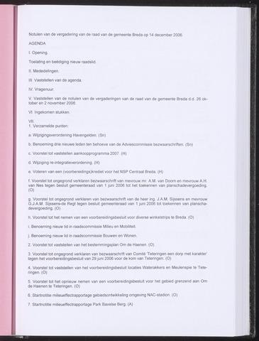 Breda - Notulen van de gemeenteraad 2006-12-14