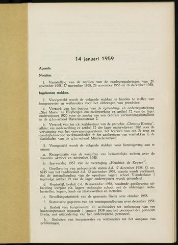 Breda - Notulen van de gemeenteraad 1959-01-01