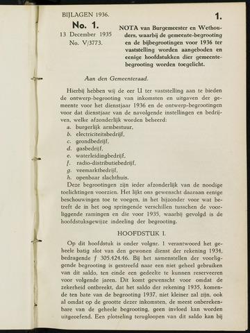Breda - Bijlagen bij de notulen van de gemeenteraad 1936-01-01