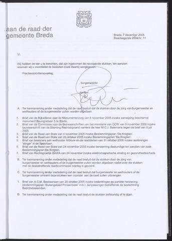 Breda - Bijlagen bij de notulen van de gemeenteraad 2005-12-07