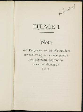 Breda - Bijlagen bij de notulen van de gemeenteraad 1931