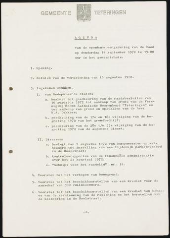 Teteringen - Notulen en bijlagen van de gemeenteraad 1972-09-14