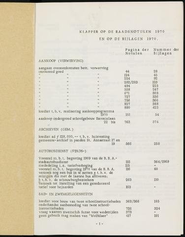 Breda - Indexen op de notulen van de gemeenteraad 1970-01-01