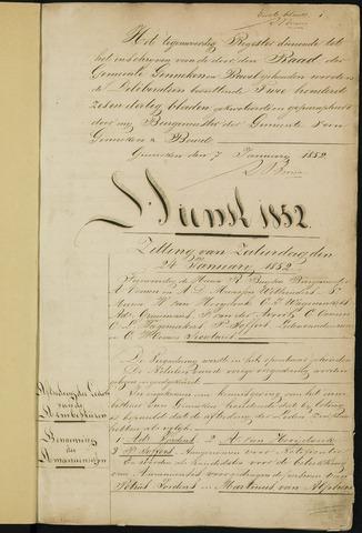 Ginneken en Bavel - Notulen van de gemeenteraad 1852-01-01