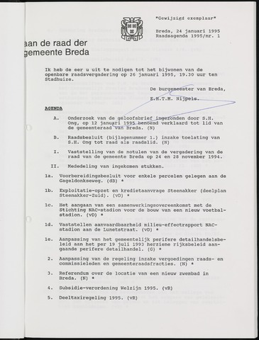 Breda - Bijlagen bij de notulen van de gemeenteraad 1995