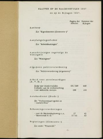 Breda - Indexen op de notulen van de gemeenteraad 1957
