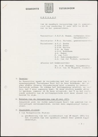 Teteringen - Notulen en bijlagen van de gemeenteraad 1971-06-17