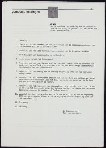 Teteringen - Notulen en bijlagen van de gemeenteraad 1991