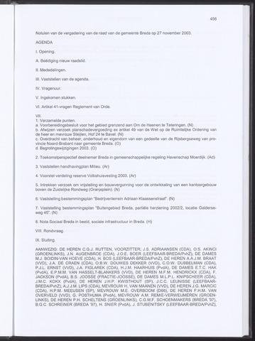Breda - Notulen van de gemeenteraad 2003-11-27