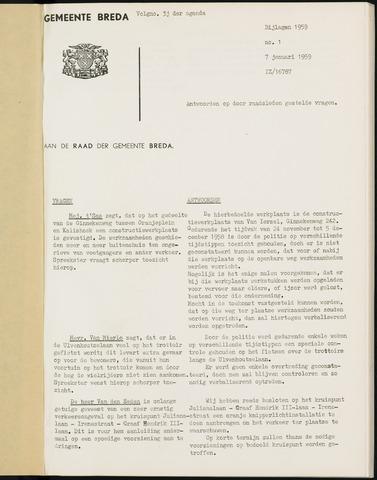 Breda - Bijlagen bij de notulen van de gemeenteraad 1959-01-01