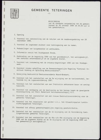 Teteringen - Notulen en bijlagen van de gemeenteraad 1989-10-26