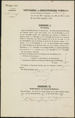 Princenhage - Verslagen van de toestand van de gemeente 1853-01-01