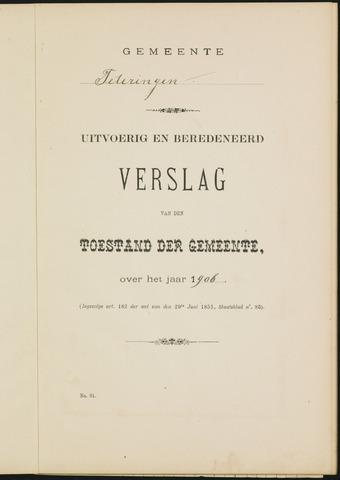 Teteringen - Verslagen van de toestand van de gemeente 1906