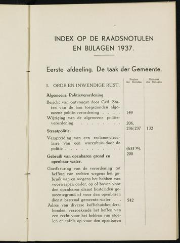Breda - Indexen op de notulen van de gemeenteraad 1937