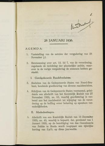 Breda - Notulen van de gemeenteraad 1936-01-01