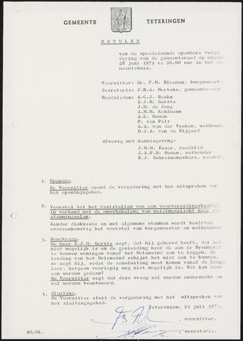 Teteringen - Notulen en bijlagen van de gemeenteraad 1971-06-28