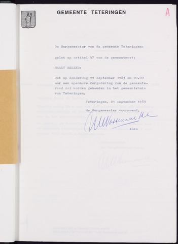 Teteringen - Notulen en bijlagen van de gemeenteraad 1983-09-29
