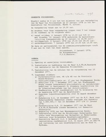 Prinsenbeek - Notulen van de gemeenteraad 1978
