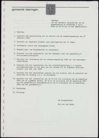 Teteringen - Notulen en bijlagen van de gemeenteraad 1990-04-05